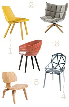 kindofstyle:    Something to sit on…  Some chairs are so well designed that they are just too cool to sit on! If I had one of these fantastic chairs, I think the only thing I want to do is look at it.  Images: E15 | B Italia | Moroso | Konstantin Grcic | Eames