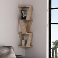 Ada Home Decor Chicago Oak Modern Wall Shelf, Brown, - Bücherregal Dekor Corner Wall Shelves, Wood Wall Shelf, Wall Shelves Design, Corner Shelf Design, Unique Wall Shelves, Bookshelf Wall, Wall Shelving, Wooden Shelf Design, Diy Wooden Shelves