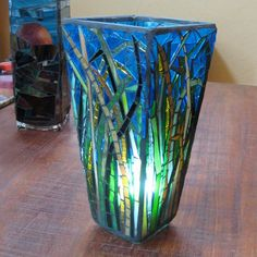 Mosaic Stained Glass Upcycled Recycled Vase of by valnorthwoods, $175.00