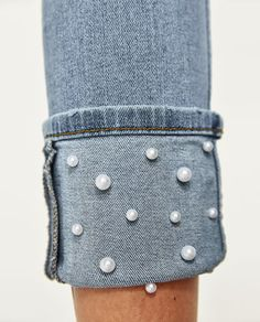 Image 7 of MID RISE JEANS WITH PEARL BEADS from Zara