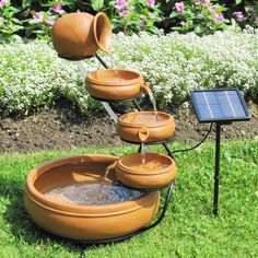 Outdoor Solar Water Fountain with Cascading Terracotta Pots