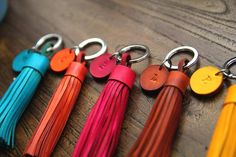Personalized Leather Keychain, Leather Tassel Keychain, Custom Leather gift, initial leather keychain