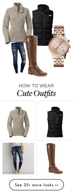 """Cute winter look"" by brittanyjanelle on Polyvore featuring The North Face, American Eagle Outfitters and Michael Kors"