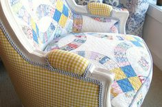Not sure I could tear up a treasured quilt for this purpose, but love the gingham backs with the blue/white double cord trim.