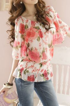 Pink floral ruffle b