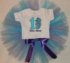 Personalized Baby Girl's First Birthday Seahorse Under the Sea Bodysuit Tutu Set 1st (2nd also available)