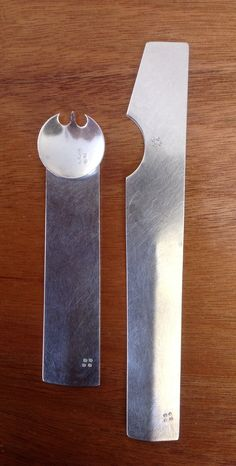 Sterling silver Spork and Spreader.                  by Lanie S. Kodner.