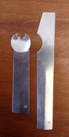 Sterling silver Spork and Spreader.                  by Lanie S. Kodner. LLLLlooooovvveeeeee!