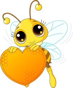 Royalty-Free (RF) Clip Art Illustration of a Cute Bee Holding A Honey Valentine Heart by Pushkin Honey Bee Pictures, Bee Drawing, Cartoon Bee, Honey Bee Cartoon, Bee Party, Cute Bee, Bee Crafts, Cartoon Drawings, Cute Animals