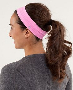 Headbands are always a great choice for keeping hair out of your face during a workout. I love Lululemon headbands--bright colors, no-slip grip, moisture wicking, and cue enough for everyday wear!