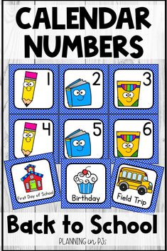 Back to School Calendar Numbers for your classroom calendar - perfect to start off the year!   Includes school supply themed calendar numbers in an ABC pattern - pencils, books and boxes of markers, matching month labels, year cards, and special days/holiday cards.  Can be used in a pocket chart calendar, a homemade poster board calendar, or for various number activities.  #classroomcalendar #backtoschool Kindergarten Calendar, Calendar Activities, Classroom Calendar, School Calendar, Number Activities, Classroom Decor, Number Writing Practice, Writing Numbers, School Events