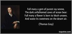 Thomas Gray quotes - Full many a gem of purest ray serene, The dark unfathomed caves of ocean bear: Full many a flower is born to blush unseen, And waste its sweetness on the desert air. Belief Quotes, Grey Quotes, Famous Quotes, Proverbs, Truths, Fun Stuff, Deserts, Blush, Pure Products