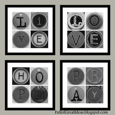 Free downloadable images - Full of Great Ideas: Live, Love, Hope, Pray Art - Free Printable. Just print and frame