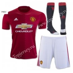 2016/17 Manchester United Home Red Kids/Youth Soccer Uniform With Socks