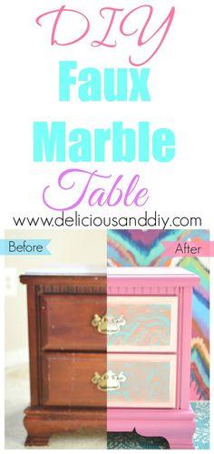 DIY Faux Marble Tabl