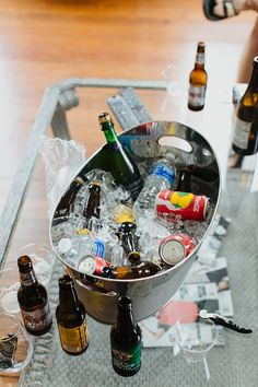 Merrimon Wynne House Wedding - Groom Bucket of Drinks - Brett & Jessica Photography - NC Wedding Planner Orangerie Events