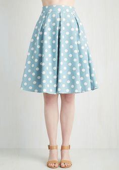 Sweet Yourself Skirt in Blueberry. Slip into this polka-dotted skirt and gift yourself a darling ensemble! #blue #modcloth