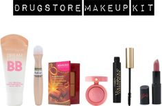 """drugstore makeup kit"" by lunnae on Polyvore"