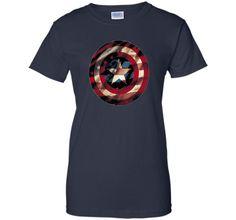 Marvel Captain America Avengers Shield Flag Graphic T-Shirt