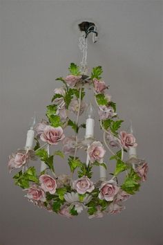 Faboulous tole Flower Chandelier with porselain roses. via Etsy. Floral Chandelier, Italian Flowers, Porcelain Lamp, Flower Chandelier, Painted Chandelier, Porcelain Roses, Porcelain Dolls For Sale, Porcelain, Vintage Chandelier