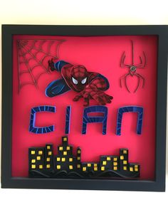 Spiderman Gift - Name Art - Personalized Wall Decor - Quilled Name - Baby Shower Gift - Nursery Room Decor - Play room decor