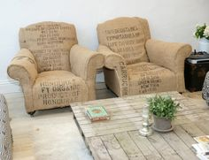I love these coffee sack chairs!