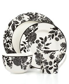 Martha Stewart Collection Orleans Black 4-Piece Place Setting  sc 1 st  Pinterest & Sango Vertigo Striped 16-pc Dinnerware Set | Overstock.com Shopping ...