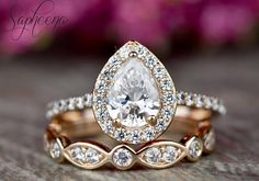 Set of 2: Rose Brilliant Pear Halo Engagement Ring with Art
