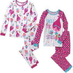 Trolls Girls' Licensed 4-Piece Cotton PJ, Size: 10, Pink