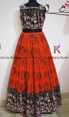 Kalamkari long dress from Rekha's house of Coutures Indian Gowns Dresses, Indian Outfits, Frock Models, Long Gown Dress, Long Frock, Kalamkari Designs, Kalamkari Dresses, Anarkali Dress, Cotton Anarkali