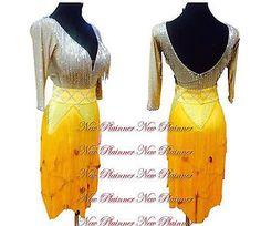 Women Ballroom Rhythm Salsa Rumba Latin Dance Dress US 10 UK 12 Flesh Yellow