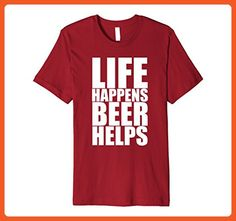 Mens Life Happens Beer Helps - Popular Funny Quote T-Shirt Large Cranberry - Funny shirts (*Partner-Link)