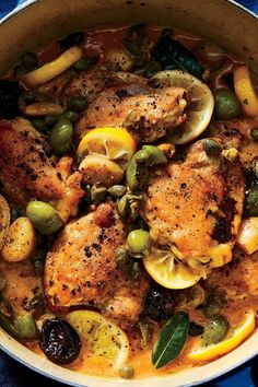 This recipe for a braised chicken with olives, capers, and prunes is inspired by Chicken Marbella, the recipe from The Silver Palate Cookbook that Prune Recipes, Chicken Marbella, Silver Palate, Braised Chicken Thighs, Chicken With Olives, Chicken Thigh Recipes, Food Dishes, Main Dishes, Cooking Light
