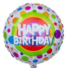 Genau ins Schwarze, bzw ins Lilane trifft der bunt gepunktete Geburtstags Ballon. Der Klassiker auf jeder Geburtstagsparty.