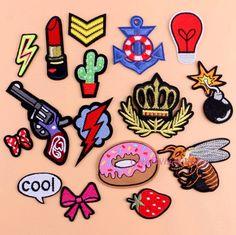 Naaien Kleding Gun Patch Ijzer Op Borduurwerk Patches Hotfix Applique motieven Naai Garment Stickers Kroon Bee Donut Bom Cool nieuwe