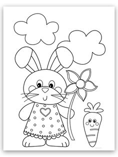 Free printable Easter bunny coloring pages. This coloring page is perfect for kids or adults and features an Easter bunny wearing a dress. Easter Bunny Colouring, Bunny Coloring Pages, Spring Coloring Pages, Easy Coloring Pages, Flower Coloring Pages, Coloring Pages For Kids, Coloring Books, Coloring Sheets, Mandala Coloring