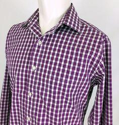 50d16468ec0b5d Brooks Brothers 346 Purple Plaid L S Casual Dress Shirt Men s 15 Slim Fit