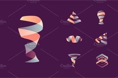 Abstract 3D logos: energy + movement by kloroform on Creative Market