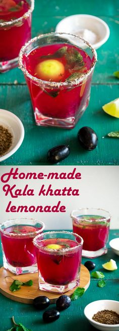 Home-made kala khatta lemonade- fruity, pretty, delicious and really refreshing with no added colour or preservatives. Perfect for this hot and humid weather. Vegetarian Types, Vegetarian Recipes, Mexican Food Recipes, New Recipes, Indian Drinks, Humid Weather, Breakfast For Kids, Summer Drinks, Healthy Drinks