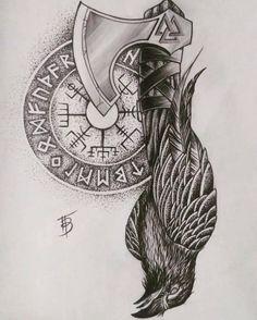 Viking Compass Tattoo, Viking Tattoo Sleeve, Viking Tattoo Symbol, Norse Tattoo, Viking Tattoo Design, Celtic Tattoos, Sleeve Tattoos, 3d Tattoos, Viking Art