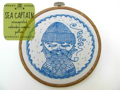 sea captain  embroidery sampler pattern by cozyblue on Etsy, $12.00