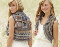 Crochet Sweet Gretel Women's Granny Square Summer Bolero Jacket/Vest with Color Changes, Custom Order, Handmade
