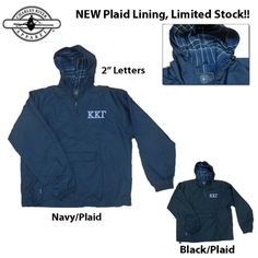 Greek Plaid Lined Pullover Jacket - EXCLUSIVE $39.99 #sorority #fraternity #apparel #gogreek