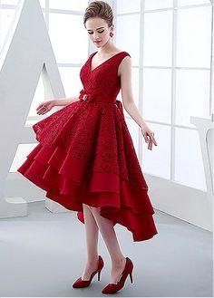 Charming Lace & Satin V-neck Neckline Hi-lo A-line Prom Dresses With Rhinestones