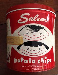 Vintage Salem Potato Chip Tin Akron OH by ToledoTreasureTrove