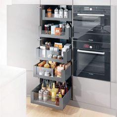 Kitchen Pantry Design, Kitchen Pantry Cabinets, Modern Kitchen Cabinets, Modern Kitchen Design, Home Decor Kitchen, Interior Design Kitchen, Kitchen Storage, Home Kitchens, Kitchen Utilities