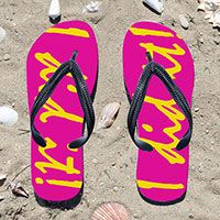 I Did It! Cursive Running Fuchsia Flip Flops - Kick back after a run with these great flip flops! Fun and functional flip flops for all runners.