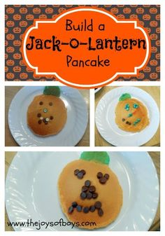 Build Your Own Jack-O-Lantern Pancakes.  An easy Halloween breakfast. | The Joys of Boys