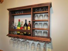 wall bar red mahogany stain minimalist style 3 foot by 2 foot bar wall mounted wine rack liquor cabinet