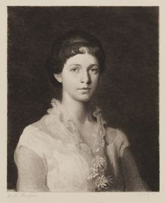 """Portrait of a Young Woman, etched by S.A. Schoff, after a painting by Abbott Handerson Thayer, published in """"American Art"""", Koehler, S.R., Cassell & Co., NY, 1886, 7 15/16 x 6 1/2"""", Pennsylvania Academy of the Fine Arts.  The young woman's parents requested that the etching be published without her name, but we now know her identity: Anne Mumford Palmer. Mumford, Almost Always, American Artists, Vignettes, Identity, Original Art, Writer, Fine Art, Portrait"""